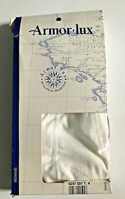 New ARMOR-LUX Mens White 100% Cotton Brief Underwear Slip M Vtg