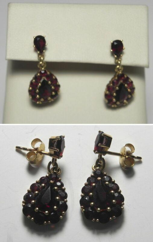 C1357 Vintage 18K Solid Yellow Gold Garnet Tear Drop Dangle Post Earrings