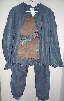 mens NEW ZOMBIE HALLOWEEN COSTUME one size GRAY JACKET PANTS SHIRT CHEST PLATE @](Costume Chest Plate)