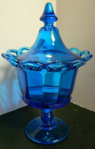 """Vintage Cobalt Blue Crocheted / Open Lace Edge Covered Compote 9.63"""" Excellent"""