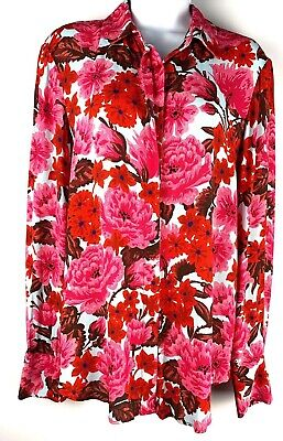 Zara Medium Multi-Color Button Down Blouse Top Women's Floral Long Sleeve (a6)