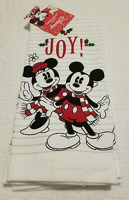 NWT DISNEY Mickey & Minnie Mouse JOY! CHRISTMAS Holiday Kitchen Towels 2 Pack