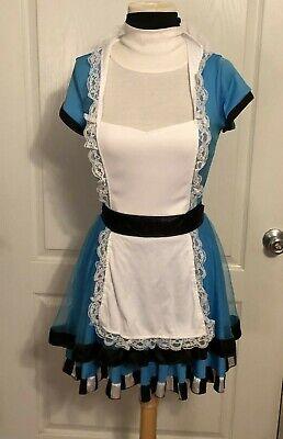 Halloween Costumes Dress In Black (Spirit Halloween Alice In Wonderland or Maid Dress Blue Black White Costume SZ)