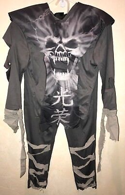 boys ZOMBIE NINJA HALLOWEEN COSTUME size medium 8/10 complete SKELETON GROSS @@
