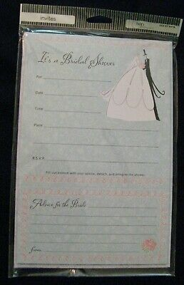 8 Bridal Shower Invitations with 'Advice for the Bride' Cards + Envelopes -NEW! Bride Bridal Shower Invitation