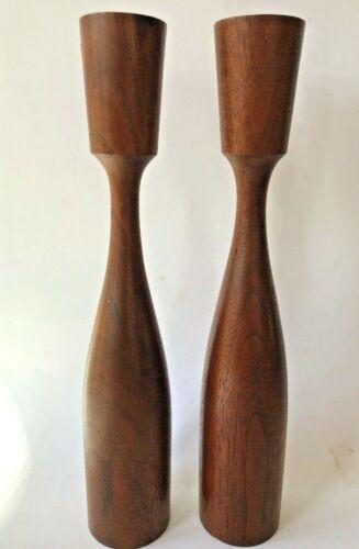 "2 Candle Holders Danish Modern Vintage Wood Pair 12"" Mid Century Wooden"