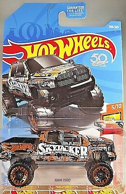 2018 Hot Wheels #298 HW Hot Trucks 5/10 RAM 1500 Black w/Copper Beadlock Spoke](Hot Black Cop)