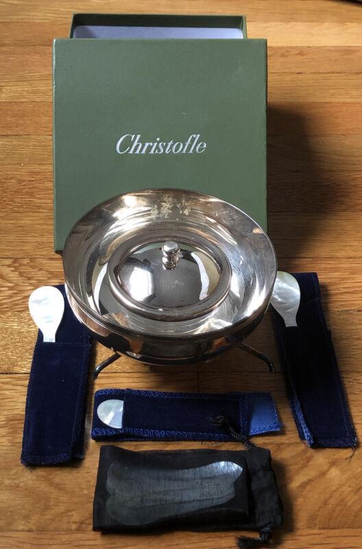 Christofle France Caviar Dish Crystal Bowl MOP Serving Spoons Original Box