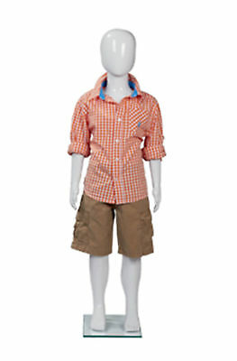 Full Body Mannequin Form Male Glossy White 43 Tall Boy Child Chest 22