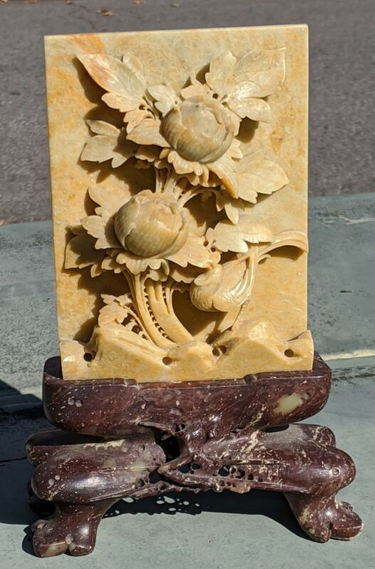 """ANTIQUE FINELY CARVED CHINESE SOAPSTONE PLAQUE & STAND / FLORAL SCENE W/ BIRD 8"""""""