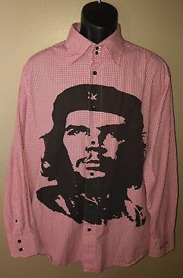 - CHE GUEVARA Dragonfly Picnic Plaid Button Shirt XL Cuba Protest REVOLUTION RARE