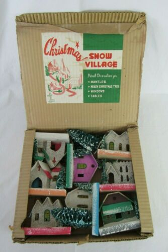 Vintage Christmas Putz Mica Houses Village Japan in Original Box Rare 1950