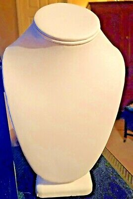 Necklace Display Bust - White Leatherette - 9 Tall New