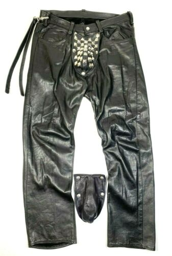 Vtg Leather Daddy Bondage Pants 33x29 Removable Codpiece Studded DIY Metal BDSM