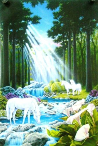 "Unicorns w/ Lilies ""1993"" / Beautiful Art Poster #8179 / New cond. - 22 x 32"""