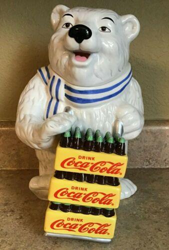 "Polar Bear Delivering Coca Cola Ceramic Cookie Jar - Gibson - 12 1/2"" Tall- 2001"