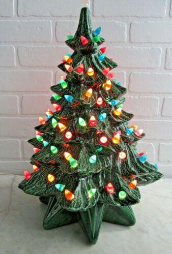 "Large 17"" Vintage CERAMIC CHRISTMAS TREE Loads Multi-Color Lights"