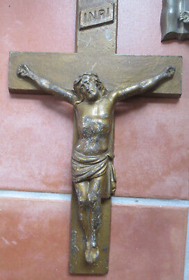 "13"" Vintage Wall hanging Crucifix Jesus Cross  Metal Altar piece"