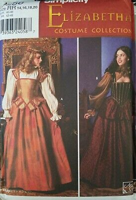 Simplicity 9256 Lovely OOP Elizabethan Dress Gown Costume Pattern 14-20 Uncut