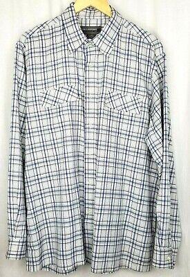 Billabong mens dress shirt size L white blue gray plaid -