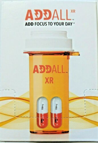 ADDALL XR 750mg, Energy Focus Concentration, 12 Packs - 24 Capsules - FREE SHIP