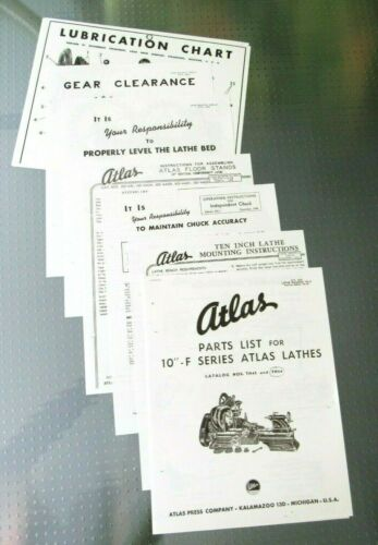 "Atlas Lathe 10"" F Series Parts List, Instructions & Charts 7 Documents"
