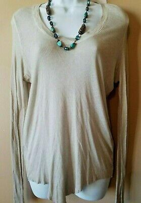 ZADIG & VOLTAIRE Size L Soft Semi-Sheer Henley Layering Tee Top
