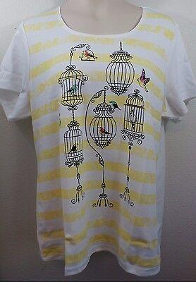 SIZE 1X KAREN SCOTT WOMAN SHIRT TOP Short Sleeve Knit Bird Cage Design NWT