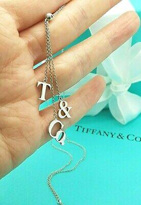 Tiffany & Co. Silver 3 D drop Letter T & Co Logo Lariat Dangle Dangling Necklace