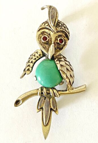 Vintage Signed Sterling Silver Turquoise Belly Owl Brooch Pin Ruby Red Eye
