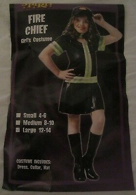 Fire Chief Spirit Halloween Costume Dress - Black - Girl's Large (12-14) - CX10](Fire Girl Costume Halloween)