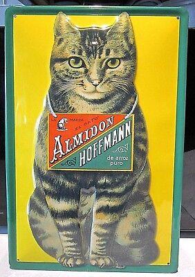 Almidon Hoffmann Arroz / Gato Atigrado: Relieve (3D) Metal Publicidad Signo