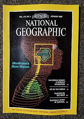 National Geographic Magazine January 1987 Medical Vision  Slovakia  Glaciers