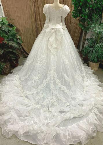 RUFFLES PEARLS SEQUINS WHITE TULLE WEDDING DRESS GOWN RENAISSANCE FAIRE SZ 10