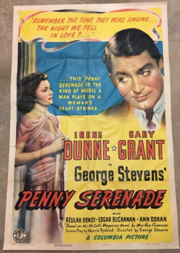 "Original 1 Sheet Movie Poster. ""Penny Serenade""  Style A. 1941. Cary Grant"