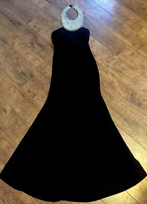 JS Boutique Black Pearl Embellished Gown Maxi Dress 8/10 RRP £160