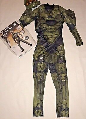 Halo Master Chief Boys Halloween Costume Size XL 14 16 3D Jumpsuit Mask   - Halo Master Chief Costumes