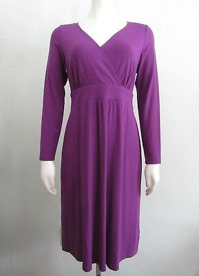 Eileen Fisher XS Wrap Ruffle Dress Purple Wisteria Color Stretch Material NWOT](Wisteria Color Dress)
