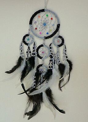 9 cm x 35 cm Perlen Schwarz Weiß Creme Dreamcatcher Traumfänger Windspiel