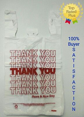 Thank You T-shirt Bags 11.5 X 6 X 21 White Plastic Shopping Bag 50 - 1000