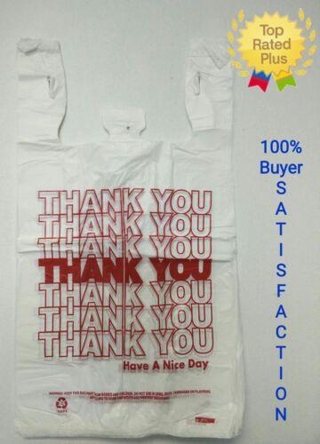 "THANK YOU T-Shirt Bags 11.5"" x 6"" x 21"" White Plastic Shopping bag 50 - 1000"
