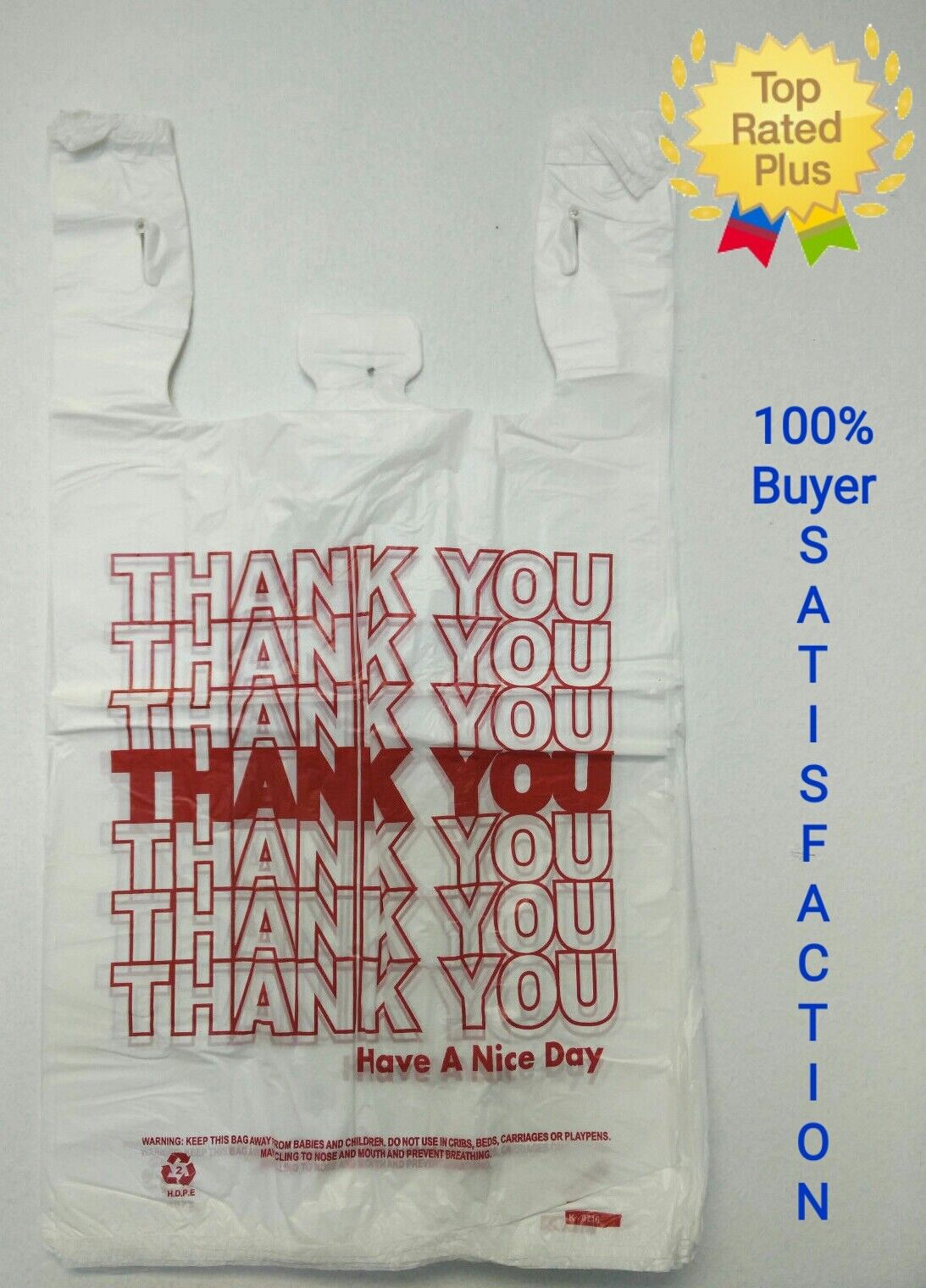 "THANK YOU T-Shirt Bags 11.5"" x 6"" x 21"" White Plastic Shoppi"