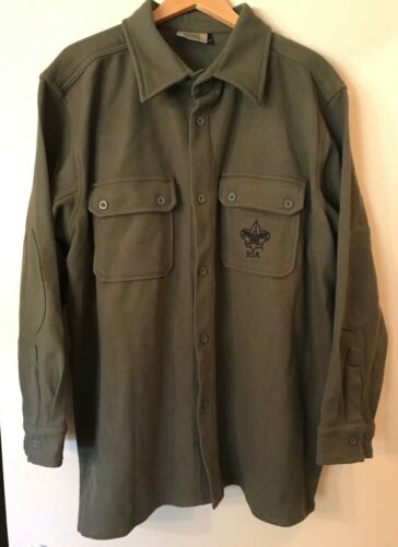 Boy Scouts of America Green Washable Wool Button Jacket/Shirt-Adult Size XL-EUC!