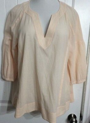 J Jill 100% Cotton Light Peach V Neck 3/4 Sleeve Pullover Cotton Gauzy Sz Medium