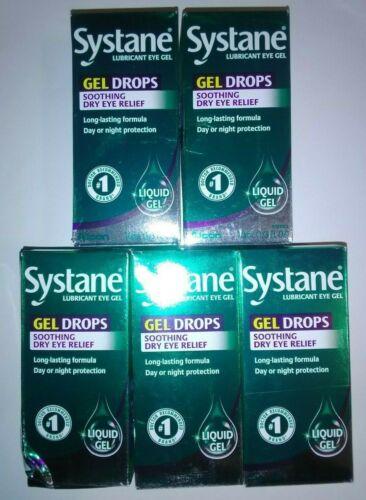 5 x Systane GEL DROPS soothing Dry Eye Relief Lubricant Eye Drops 10 ml  7/2022