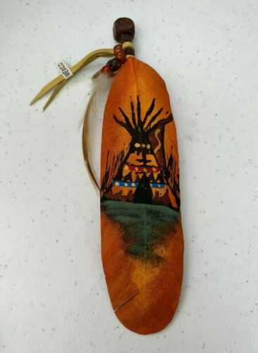 NEW HAND PAINTED FEATHER , ARTS & CRAFTS ,SOUTHWEST ART , NEW , SOUTHWEST TEEPEE