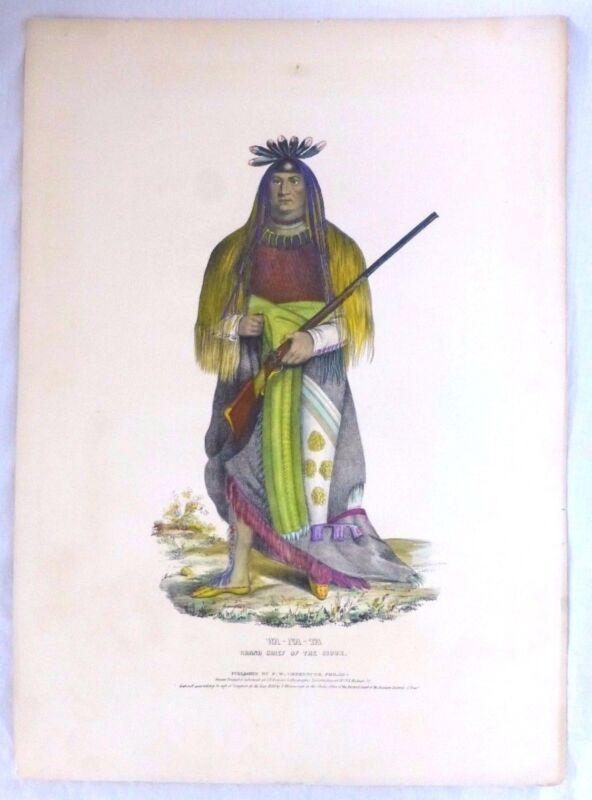 WA-NA-TA Sioux Grand Chief. Folio Lithograph. McKenney & Hall. Charles King.1836