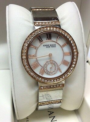 Anne Klein 12/2281MPRT Two-Tone Rose Gold Swarovski Crystal Women's Watch