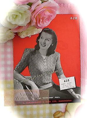Free Knitting Pattern Stitches (Vintage 1940s Knitting Pattern Lady's 'Bold' Lace Stitch Jumper £2.69 & Free P&P )