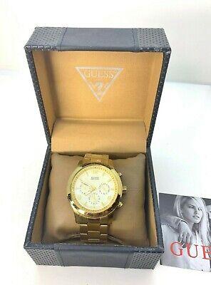 Mens GUESS Gold-Tone Waterproof Chronograph Wrist Watch Model U15061G2
